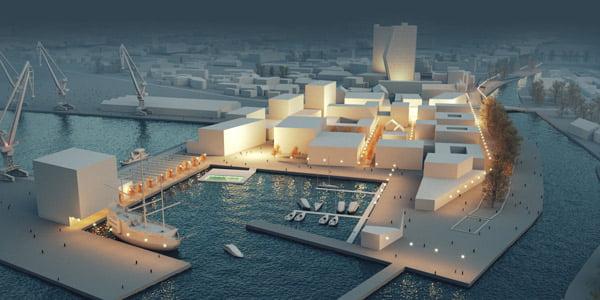 """Dangės uostas. Architektų studijos """"Arches"""" vizual."""