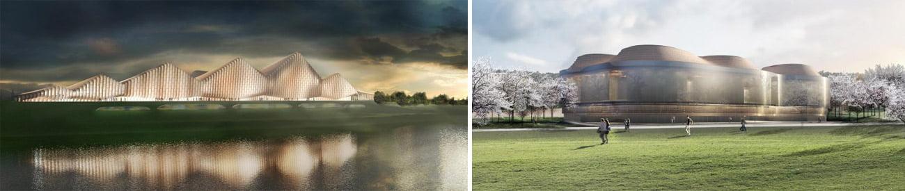 """Jungtinės Karalystės architektų biuro """"SimpsonHaugh and Partners"""" projektas (kairėje) ir Kinijos architektų biuro """"Donghua Chen Studio"""" projektas"""