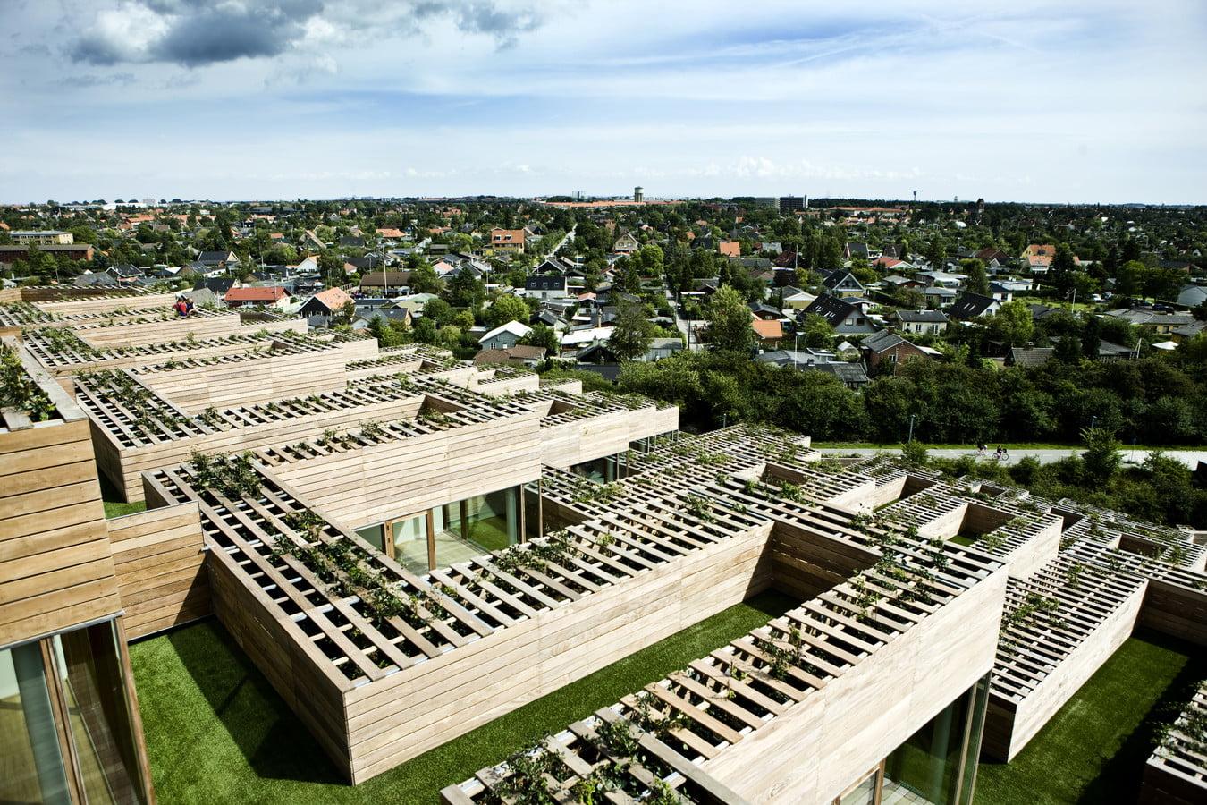 Išorėje atviras terasas vieną nuo kitos skiria mediniai atitvarai. BIG Bjarke Ingels Group nuotr.