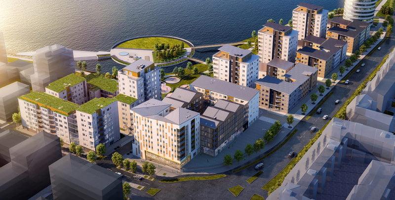 """Tarp ryškiausių grupės įmonių įgyvendintų projektų – """"Munksjo"""" daugiabučių kvartalas Švedijoje."""