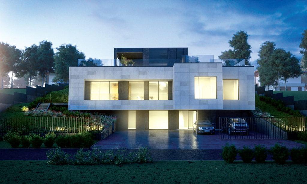 """Įvažiavimas ir langai suprojektuoti vienoje namo pusėje. """"Kubinio metro"""" vizual."""