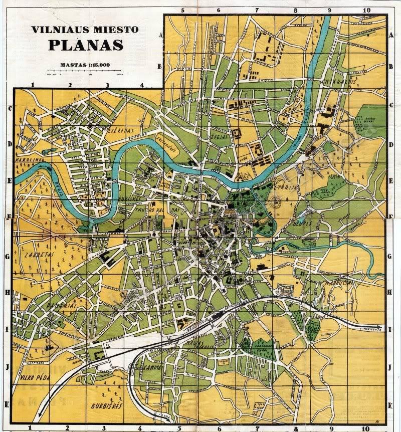 1940 m. Vilniaus miesto planas.