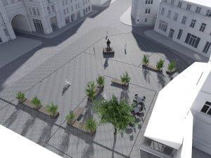 Aikštę priešais dabartinę Filharmoniją planuojama sutvarkyti iki kitų metų rudens.