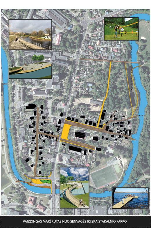Siulomo tvarkyti ir pritaikyti pestiesiems ir dviratininkams per istorini kvartalą gatvių schema.