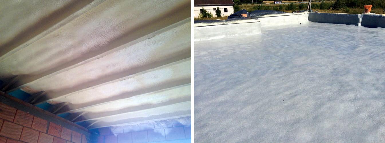Lengvumas, kibumas, net mažiausių mikroplyšelių užpildymas - šios ypatybės leidžia purškiamas uždarų porų poliuretano putas naudoti tiek plokščiųjų stogų, tiek vidaus konstrukcijų izoliavimui.