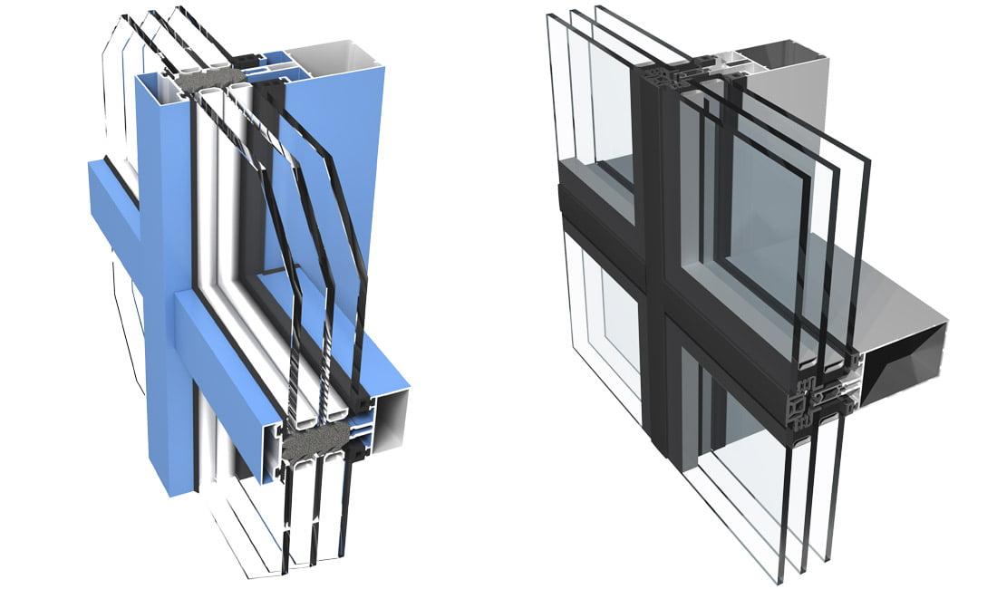 """""""Ponzio"""" aliuminio profilių fasadų sistemos """"PF152 HI"""" (kairėje) ir """"PF152 ESG""""."""