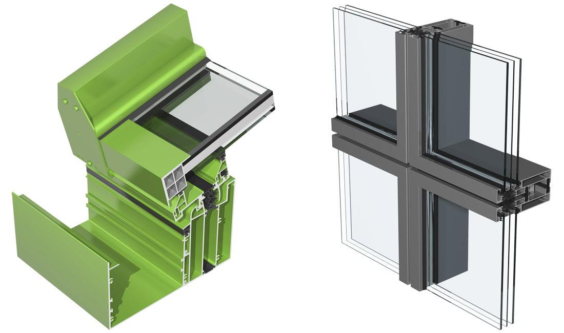 """""""Ponzio"""" aliuminio profilių fasadų sistemos """"PF152 WG"""" (kairėje) ir """"PF173""""."""