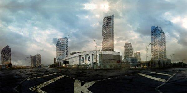 """Carlo Verso fotomontažas iš serijos """"Post-apocalyptic Vilnius""""."""
