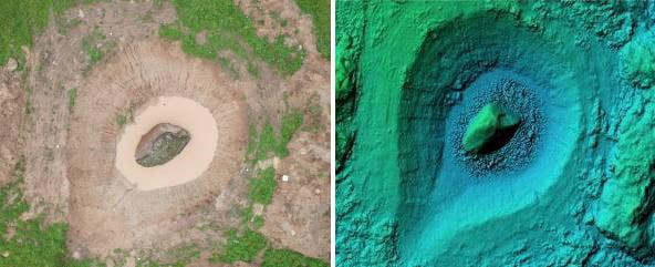 Riedulio vieta ortofotografiniame žemėlapyje (kairėje) ir 3D žemės paviršiaus modelyje