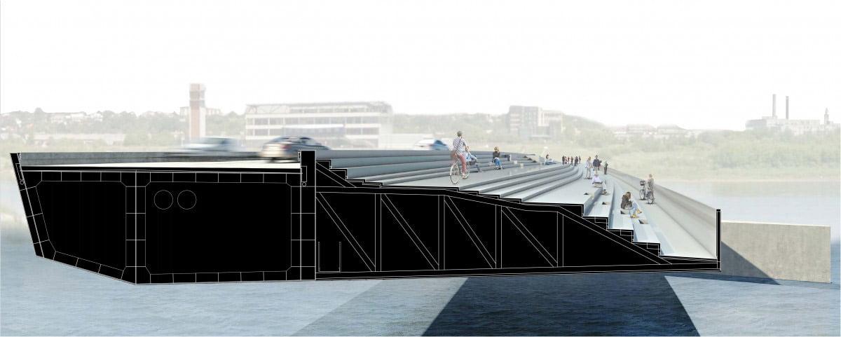 """Projektas """"Santakos tiltas"""". Autoriai – architektai Vytautas Biekša, Marius Kanevičius, Justinas Malinauskas, Martyna Kildaitės, Eglė Matulaitytė, Vilius Žeimys, UAB """"Processoffice""""."""