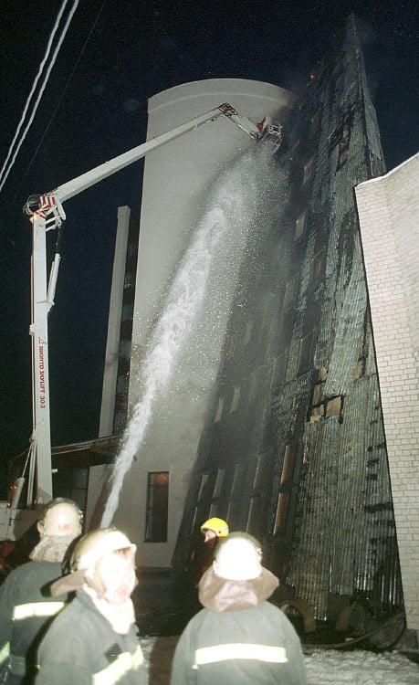 "Gaisras ""Sodros"" būstinėje Vilniuje (1999 m.)."