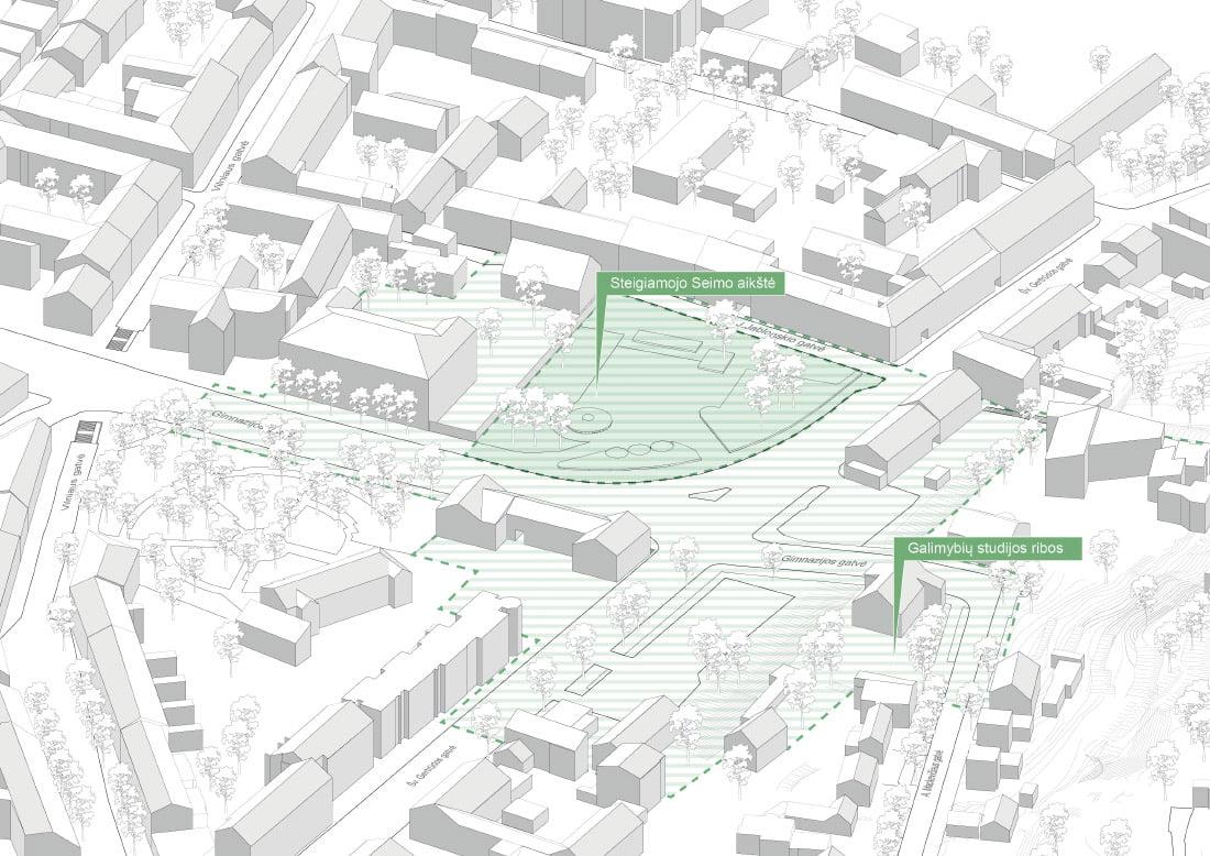 Steigiamojo Seimo aikštės ir gretimų teritorijų urbanistinio vystymo galimybių studijos ribos.