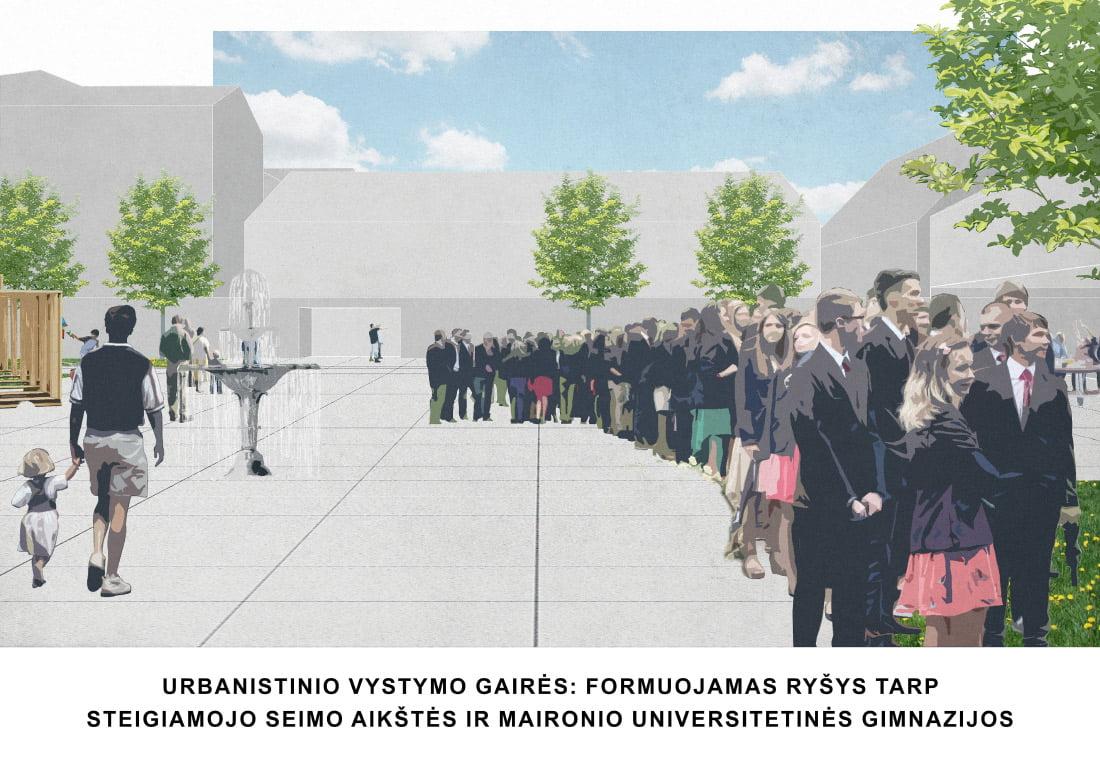 Urbanistinio vystymo gairės: formuojamas ryšys tarp Steigiamojo Seimo aikštės ir Maironio Universitetinės gimnazijos.
