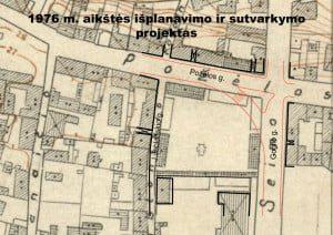 1976 m. senoji rinka panaikinta dėl tuometinių N. Gogolio (dab. Gimnazijos) ir K. Požėlos (dab. Šv. Gertrūdos) gatvių rekonstrukcijos. 1977 m. turgaus vietoje pagal architektės D. Juchnevičiūtės projektą buvo suformuota aikštė su dviem akcentais – fontanu ir paminkliniu biustu.