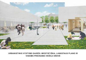 Urbanistinio vystymo gairės: miestietiška, lankstaus plano ir viešai prieinama viešoji erdvė.