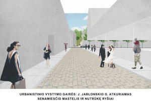 Urbanistinio vystymo gairės: J. Jablonskio g. atkuriamas senamiesčio mastelis ir nutrūkę ryšiai.