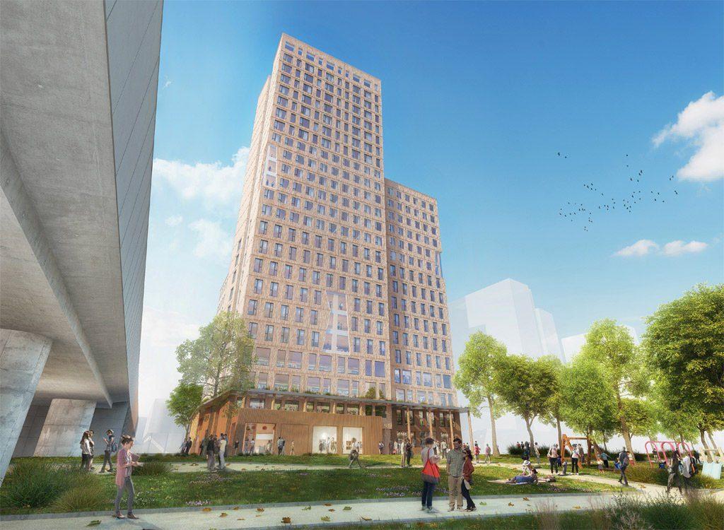 """24 aukštų """"HoHo"""" dangoraižis Vienoje."""