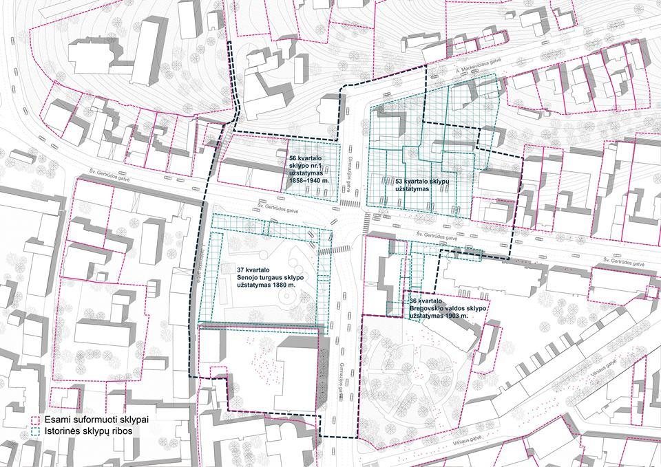 Išnykusios istorinės kvartalų posesijos (SSA ir gretimų teritorijų urbanistinio vystymo galimybių studija).