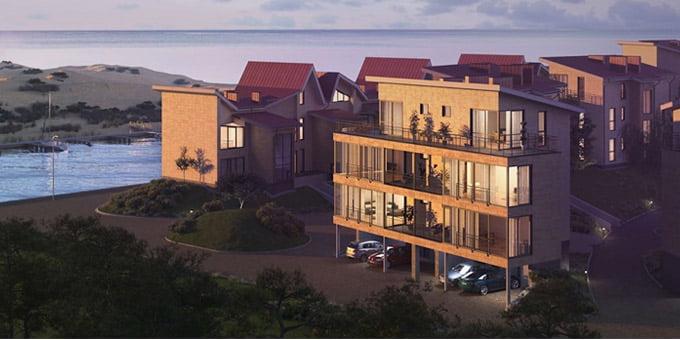 """Projektas <a href=""""http://sa.lt/sventosios-uoste-naujas-gyvenamuju-namu-kvartalas/"""">""""Jūros panorama""""</a>. """"Rewo"""" vizual."""
