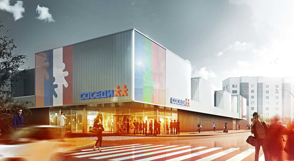 Prekybos centras SOSEDI, Baltarusija. Vilniaus architektūros studijos vizual.