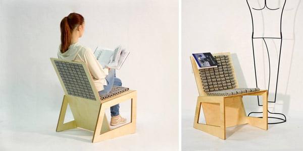 """Poilsio kėdės dizainerė Roberta Laurinaitytė, diplominio darbo vadovas, doc. Renatas Šukys, baldo gamintojas  –<br>MB """"Artline sprendimai""""."""